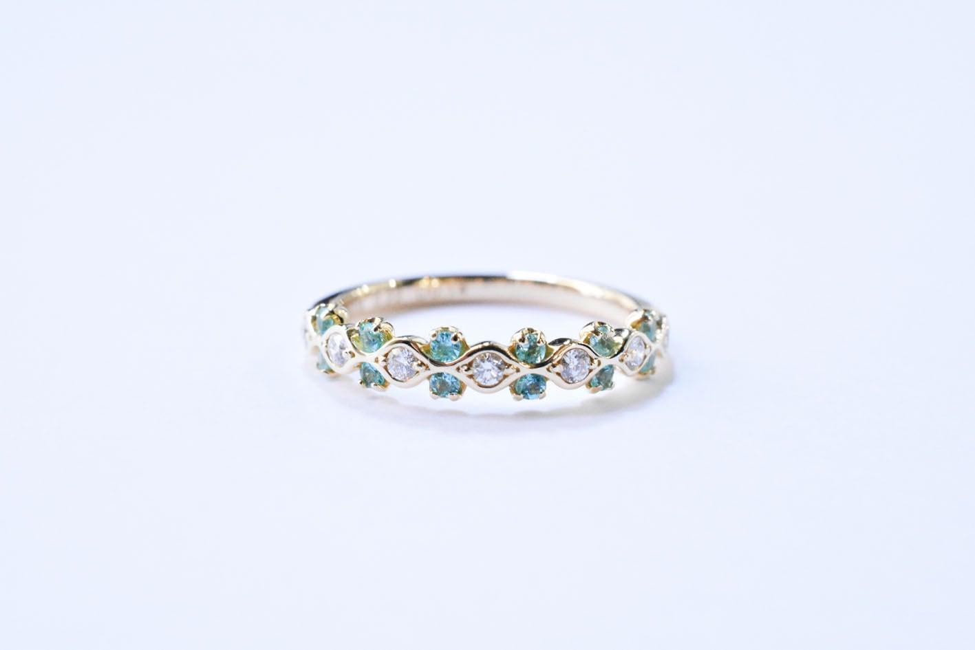 パライバトルマリン&ダイヤモンド リング / K18YG