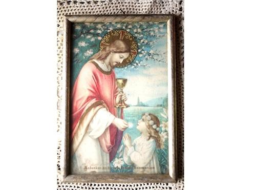 宗教画 イエス様と少女 壁掛け額絵 キリスト教 祝福聖餐記念儀式 初聖体拝領