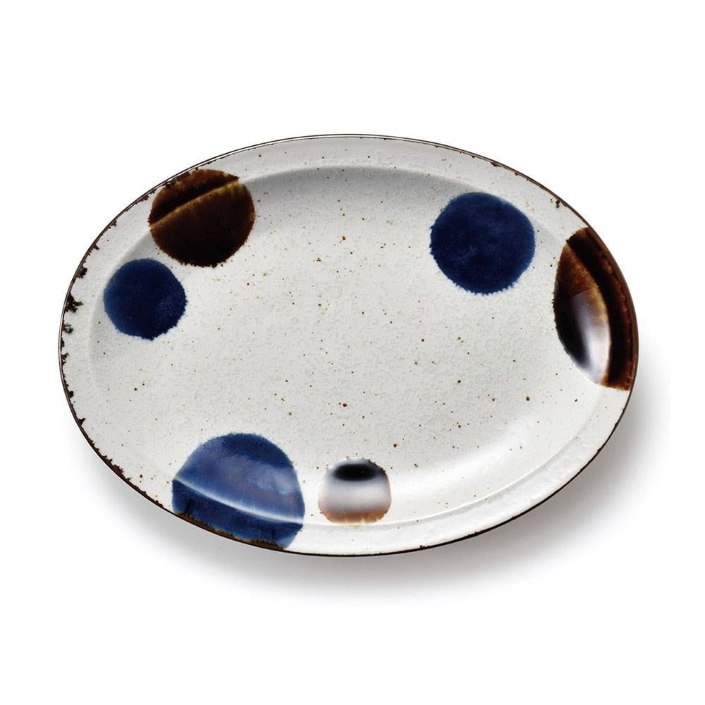 aito製作所 「るり玉 Dots of Ruri」オーバル プレート 皿 大 約26×19cm グレー 美濃焼 288082