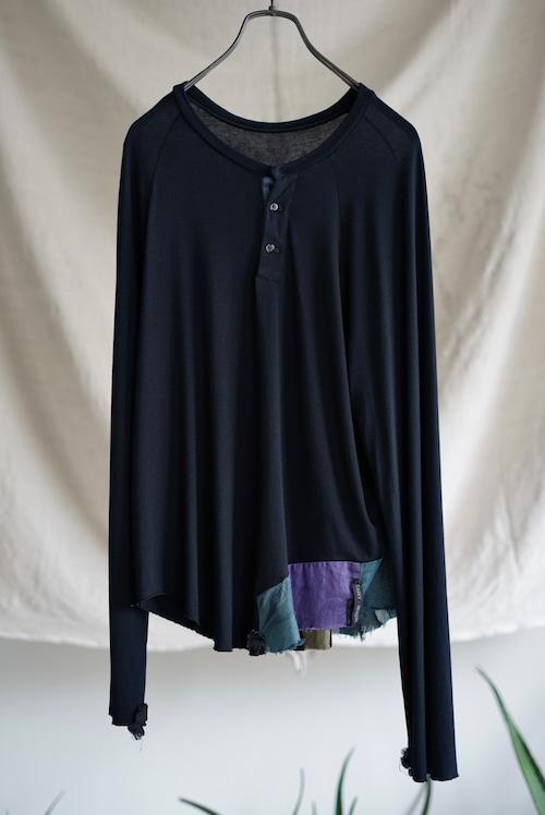 <SOLD OUT>Casey Vidalenc - Henry Neck Vintage Silk Patchwork Long Sleeve