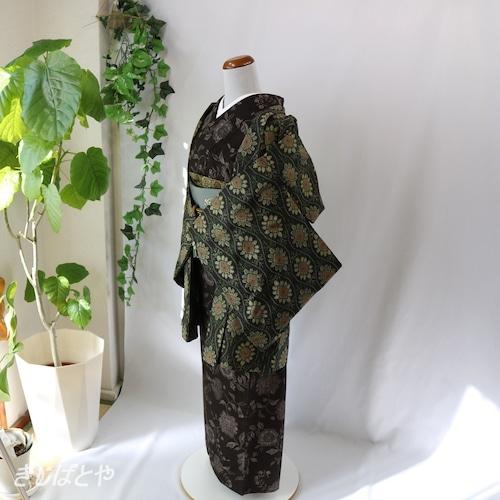 大島紬 黒地に花の羽織