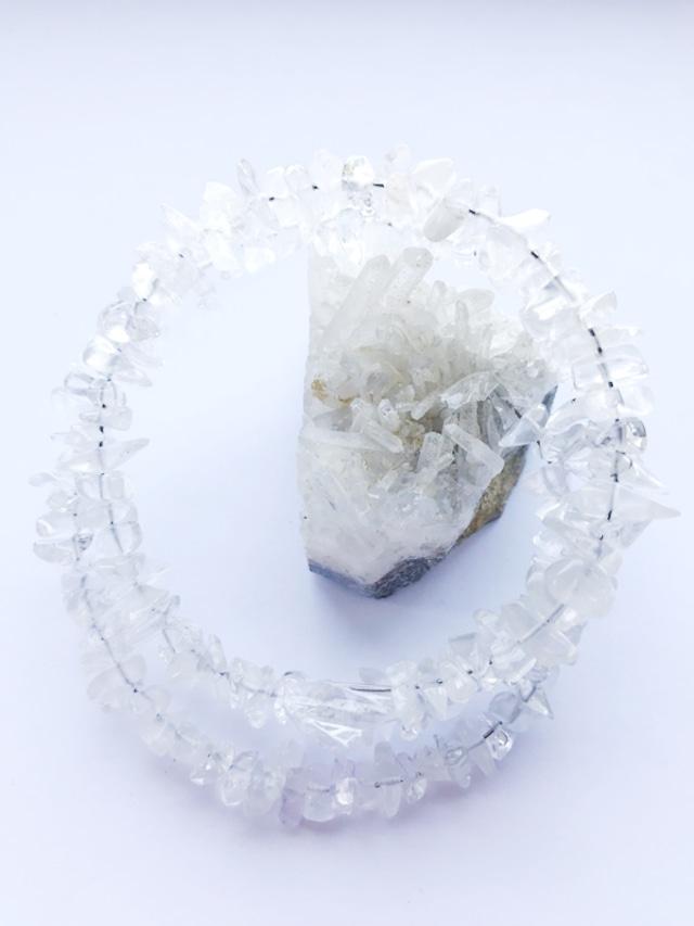 ★フリーサイズ★大人気♫水晶のさざれ石の2連ブレスレット~健康、仕事、恋愛なんでもあれ【全体運】