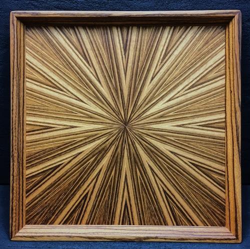 Zebra wood  光線貼り正方形のトレー  0058