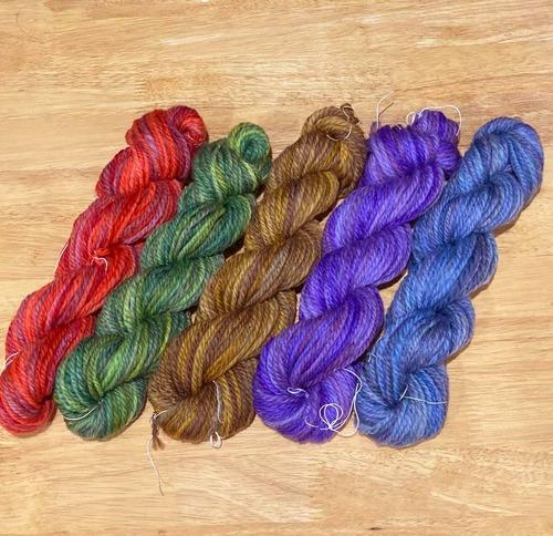 Poko47)むら染手紡ぎ毛糸 コリデール 6色からお選びください (手編み糸&手織り糸)