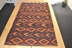 155×150 #1200-0795 程良いオレンジ色アフガニスタンメイドキリム