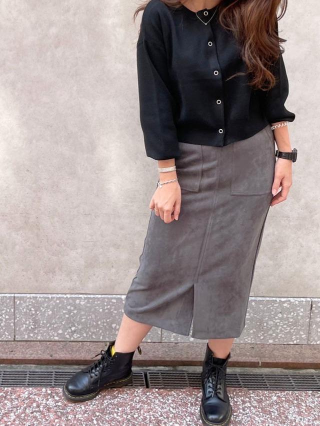 フェイクスエードタイトスカート[Color:グレー]