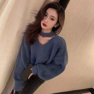 【トップス】韓国系長袖Vネックプルオーバーセーター53574648