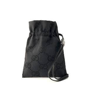 GUCCI グッチ GGキャンバス 巾着 ミニバッグ ハンドポーチ ジャガード ハンドバッグ ブラック vintage ヴィンテージ オールドグッチ vbfsnn