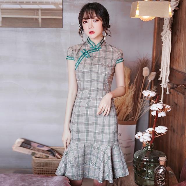 チャイナドレス ワンピース ドレス 改良型チャイナドレス チャイナ風服 スタンドネック 半袖 ショート丈 エレガント 着痩せ 上品 大きいサイズ S M L LL 3L チェック柄 マーメイドライン