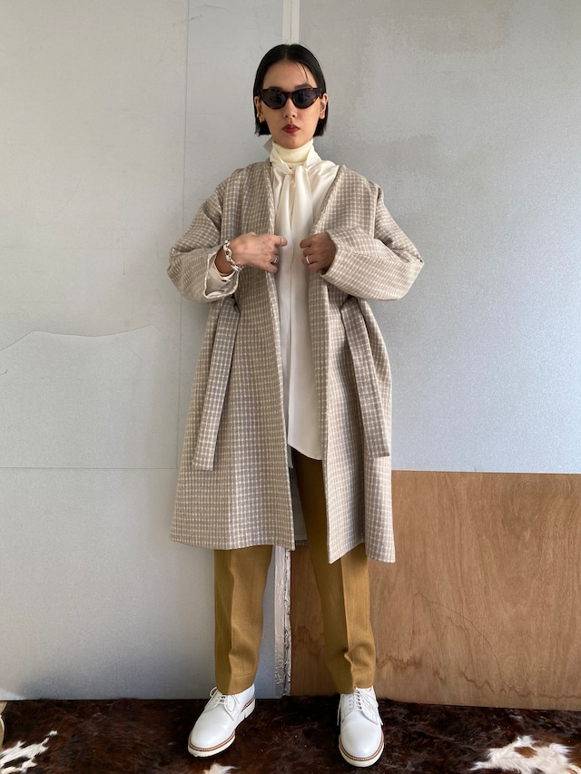"""Gown coat """"Ice gray hound's-tooth check"""" khadi wool"""