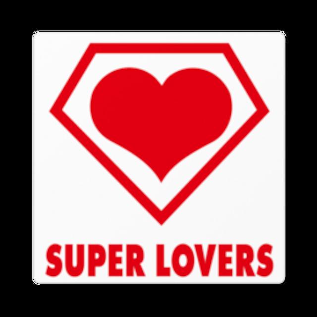 SUPER LOVERS logo/ステッカー白ベース 10cm枠内
