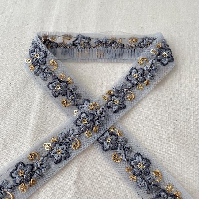 インド刺繍布シルク生地ブルーグレー【100cmカット済】