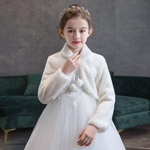 1515キッズ ボレロ  子供 ドレス 子ども フォーマル カーディガン 女の子ポンチョ キッズ ボレロ マント ファー 赤 白色90cm-165cm