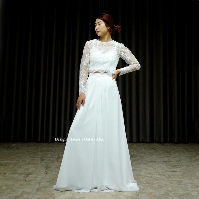【オーダー制作】ウエディングドレス(無料パニエ) セパレートカジュアルウエディングドレス(3点セット・ボレロ・インナー・スカート)※制作期間3週間から6週間