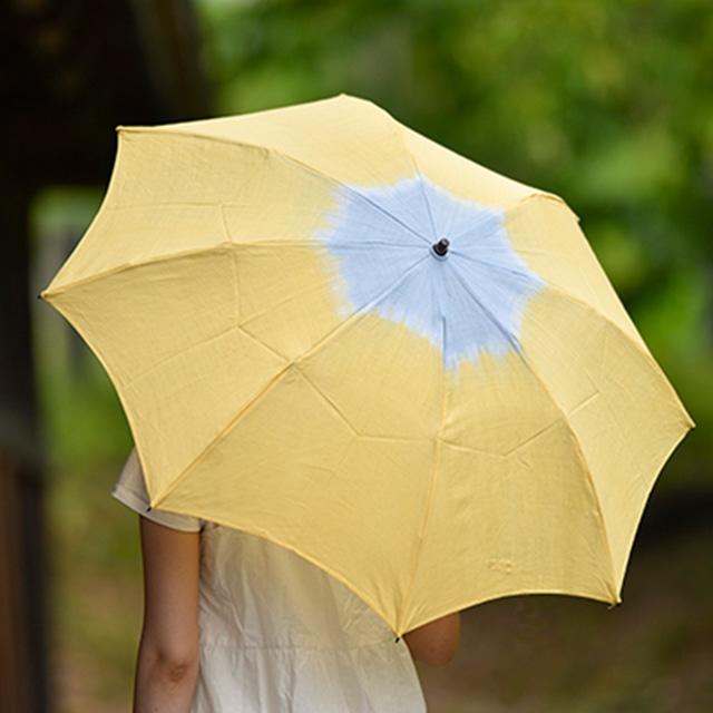 小宮商店×きぬのいえ おりたたみ日傘【檸檬×薄藍】