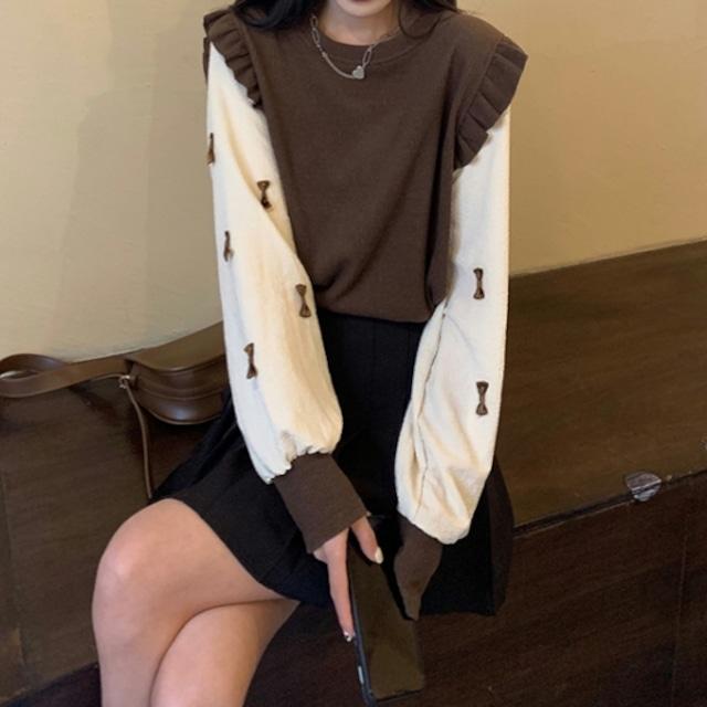 レトロガーリー♡レイヤード風リボンセーター A0967
