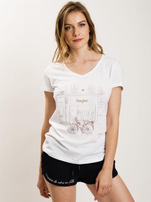 フランス製Tシャツ『BOUTIQUE BLANC COL V』