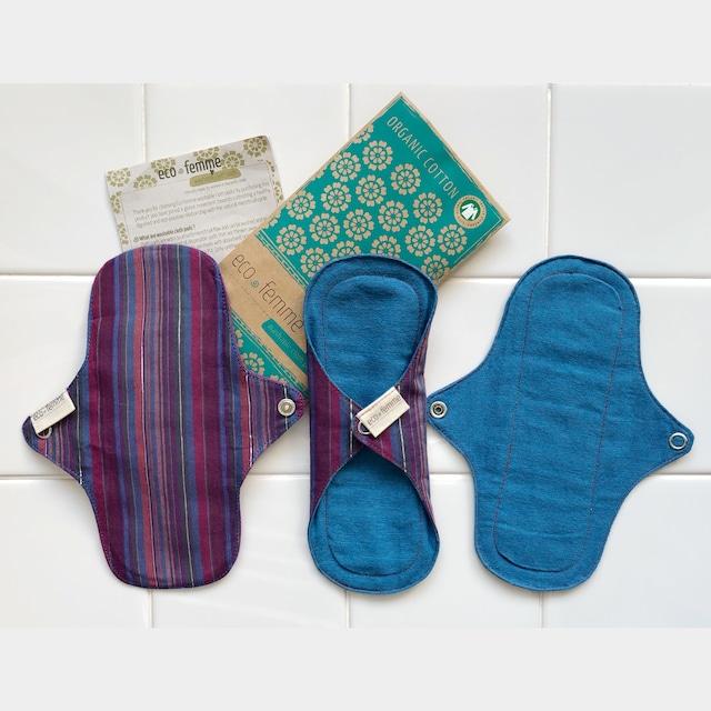 軽い日用(防水あり)3枚セット 肌面:オーガニック染料使用フランネル/Pantyliners - Vibrant Organic