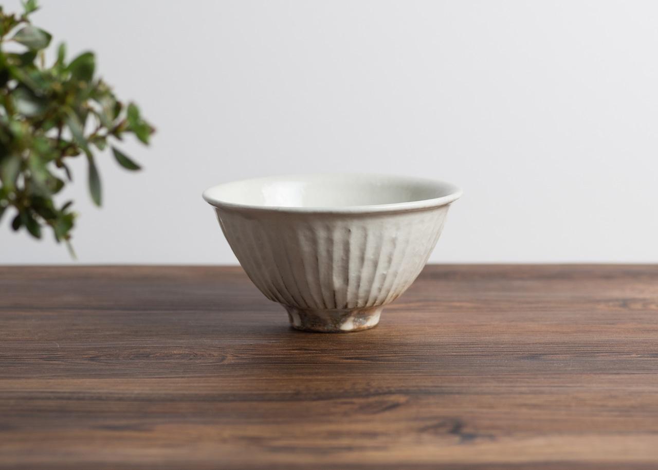 鉄散 線彫 めし碗 大(信楽焼・ご飯茶碗・ちゃわん)/古谷 浩一
