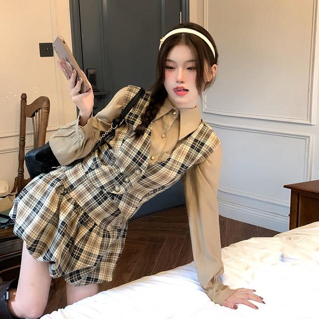 【セット】「単品注文」レトロチェック柄ノースリーブVネックベスト+シャツ+スカート52948599