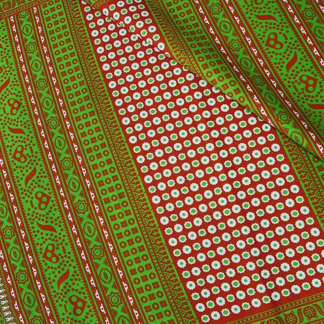 カンガ|伝統柄キストゥ キャロットオレンジ × ライムグリーン