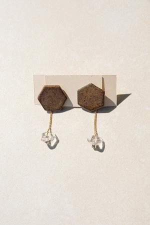 ピアス: 特製陶製タイル &ガラス[2WAY] 「土と水の関係について」