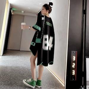 【トップス】カジュアルファッションロング丈Tシャツ28897377