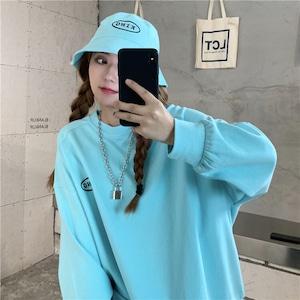 【トップス】ラウンドネック韓国系ファッション無地パーカー42908477