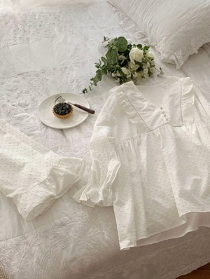 Dot cotton Ruffle pajamas