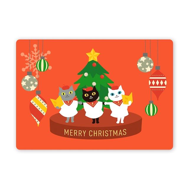 クリスマスカード ノワちゃんとおともだち 聖歌隊