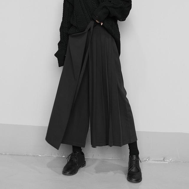 【KEN STUDIOシリーズ】★キュロットスカート★ カジュアルパンツ 無地 シンプル ファッション ブラック 黒い