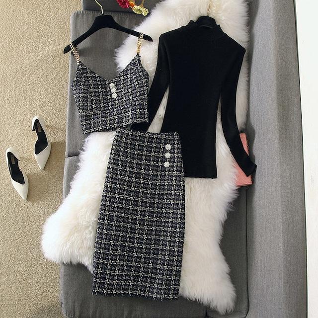 セットアップ ベスト+スカート+セーター 3点セット ニット ツイード ファッション チェック柄 OL/フォーマル 長袖 M L XL 2XL