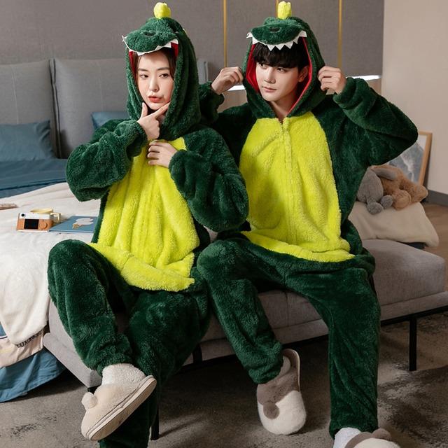 【三睦シリーズ】★パジャマ★ オールインワン ルームウェア 部屋着 恐竜 グリーン 緑 男女兼用 S M L XL