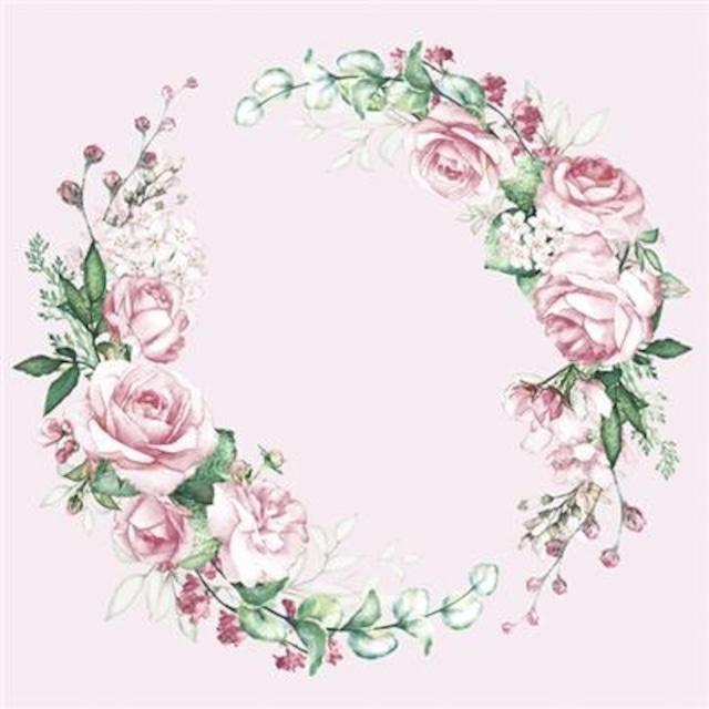 【Maki】バラ売り2枚 ランチサイズ ペーパーナプキン Watercolour Wreath ローズ