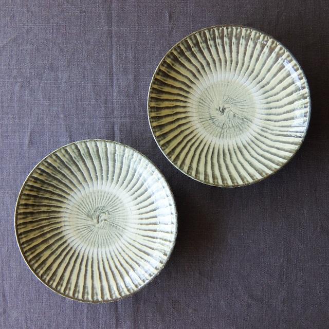 小鹿田焼 坂本工窯 - 7寸皿 - 刷毛目 (白)