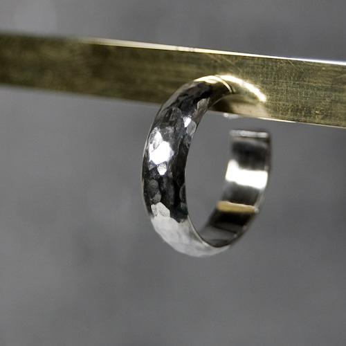 シルバープレーンフープピアス 5.0mm幅 槌目|WKS PLANE HOOP PIERCED EARRING 5.0 sv hammer|FA-383