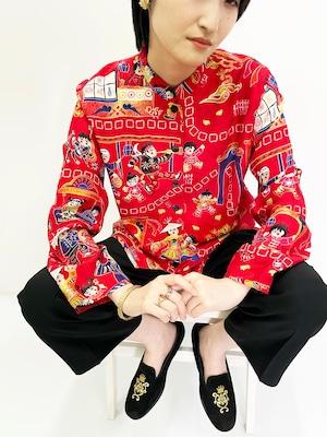 Vintage Silk Oriental Pettern China Shirt