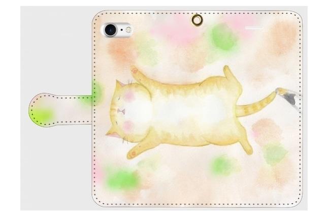 (iPhone用)お昼寝ねこ手帳型スマホケース