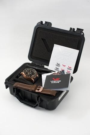 【VOSTOK EUROPE ボストークヨーロッパ】Anchar Submarine Chronograph Line アンチャールサブマリンクロノグラフ(ブラック×ブロンズ)/国内正規品 腕時計