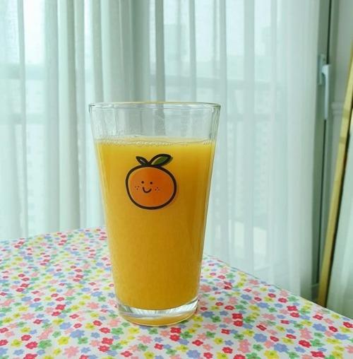 orange glass cup / 韓国 オレンジ コップ