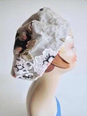 花柄のベレー帽・グレー<M57cm>