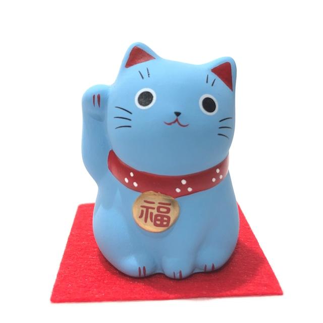 錦彩福おいで招き猫 青猫 健康長寿
