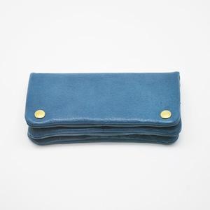 Yezo deer soft wallet tanned blue