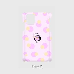 iPhone 11~iPhone6/6s/7/8 対応 側面表面印刷 スマホケース ピンク どんまいぷくちゃん
