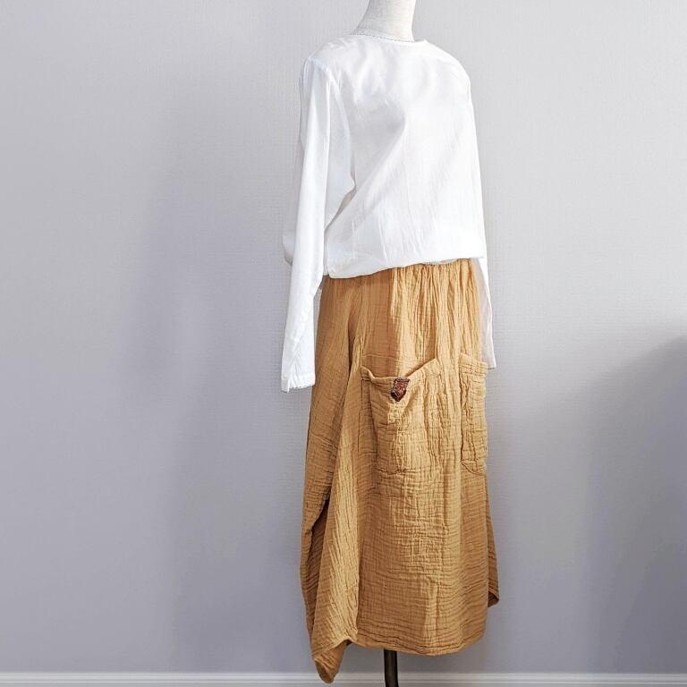 チェンマイ 大きなポケットがついたダブルガーゼのスカート からし色