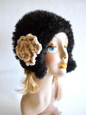 フード型ニット帽 モノトーン <M〜Lサイズ>