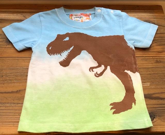 受注制作 kidsTシャツ「ティラノサウルス」段染め 90~120対応