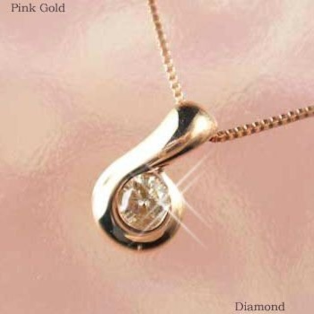 ダイヤモンド ネックレス 一粒 18金ピンクゴールド 0.1カラット k18pg レディース