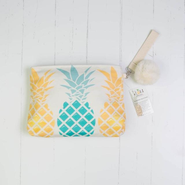 クラッチバッグ (防水裏地付き)Gold/Blue Pineapple