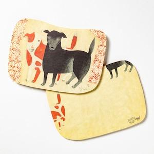 moritaMiW/MiWポストカード/黒犬チョークと赤斑犬のテンM-67403-00-1